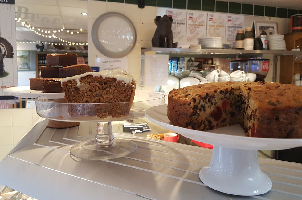 Delicious homemade cakes at Michael's Bistro in Malmesbury Wiltshire