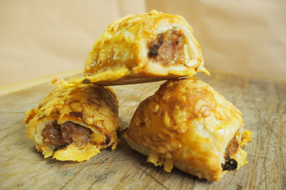 'Delicious Cheese and Onion Sausage Rolls made using Michael's sausages